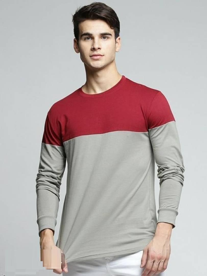 Colourblocked Cotton Round Neck Full TShirts